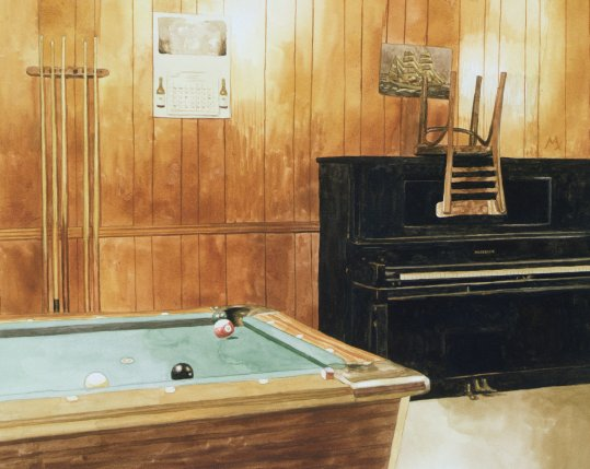 Bar with Pool Table and Piano