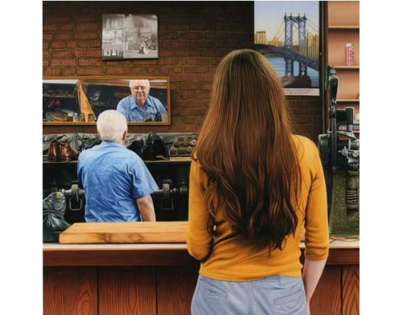 """Shoe Repair Shop 2008"" Oil on Panel 16 x 16 inches"
